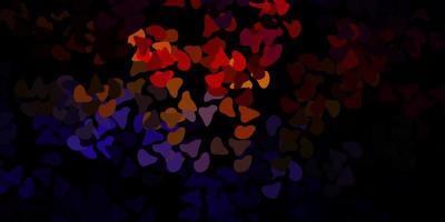 fundo escuro do vetor multicolor com formas aleatórias.