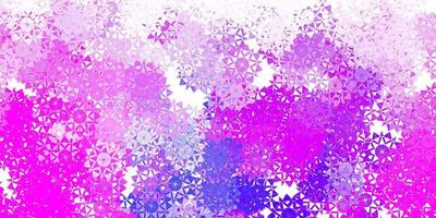 textura vector rosa claro, azul com flocos de neve brilhantes