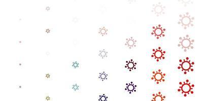 fundo claro multicolorido com símbolos covid-19