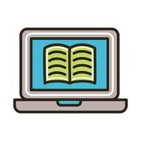 livro eletrônico no laptop vetor