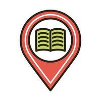 livro eletrônico na localização do alfinete vetor
