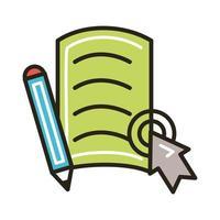 documento eletrônico e lápis com mouse vetor