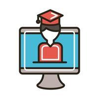 desktop com linha de estudante graduado e estilo de preenchimento vetor