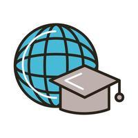 chapéu de formatura com linha e estilo de preenchimento do planeta mundial da educação vetor