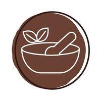 prato com colher e folhas planta estilo bloco orgânico vetor