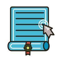 certificado de graduação e seta do mouse vetor