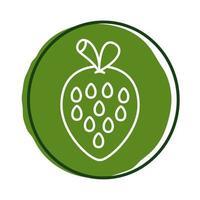 ícone de bloco de morango fresco vetor