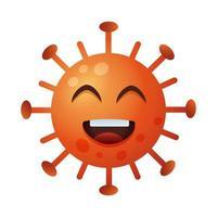 personagem emoticon feliz covid19 partícula vetor