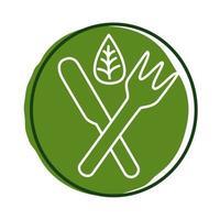 garfo e faca com folha planta estilo bloco vetor