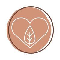 coração com folha planta estilo bloco vetor