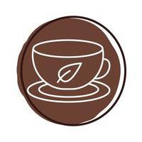 xícara de chá com folha de planta estilo bloco vetor