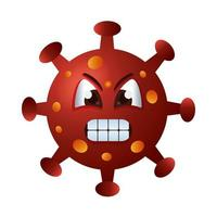 personagem emoticon covid19 particle angry vetor