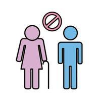 casal de idosos sem distancia social vetor