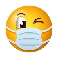 emoji usando máscara médica em estilo gradiente vetor