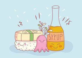 xarope de sushi e cardápio restaurante comida cartoon vetor