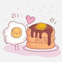 panquecas xarope de manteiga e ovo frito menu de comida de restaurante fofa vetor