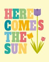 Aqui vem o poster da arte da parede do sol vetor