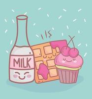 cupcake de garrafa de leite e comida de restaurante de menu fofa vetor