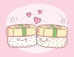 menu de sushi unagi restaurante comida fofa vetor