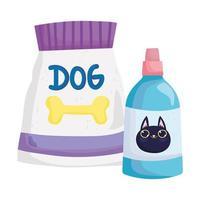 pet pacote de comida para cachorro e remédio veterinário para gato vetor