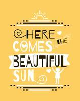 Poster bonito da arte da parede do sol vetor