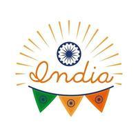 celebração do dia da independência da Índia com ícone de estilo plano Ashoka chakra e guirlandas vetor