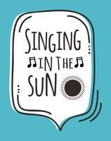 Cantando no cartaz da arte da parede do sol vetor