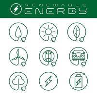 ícones de energia renovável definidos com um traço editável,