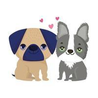 cães pug e boston terrier sentados desenhos animados animais de estimação vetor