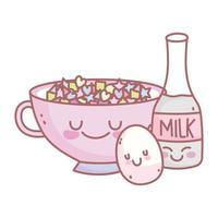 garrafa de leite ovo cozido e menu de cereais restaurante comida fofa vetor