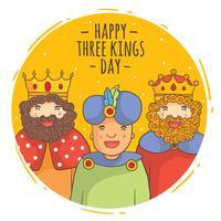 dia dos reis no vetor do círculo