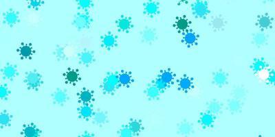 pano de fundo de vetor azul claro com símbolos de vírus.