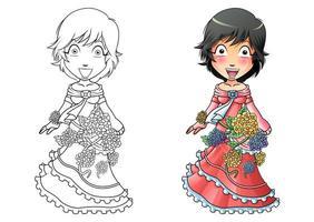 página para colorir de desenho animado de menina com vestido de flor para crianças