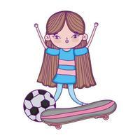 feliz dia das crianças, menina com skates e bola no parque vetor