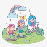 feliz dia das crianças, crianças andando de bicicleta e skates no parque vetor