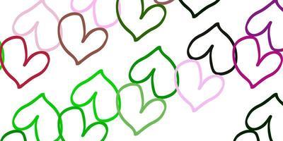 modelo de vetor rosa claro verde com corações de doodle.