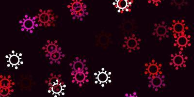 padrão de vetor rosa claro com elementos de coronavírus.