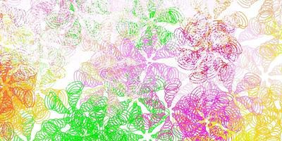layout de vetor rosa claro e verde com curvas.