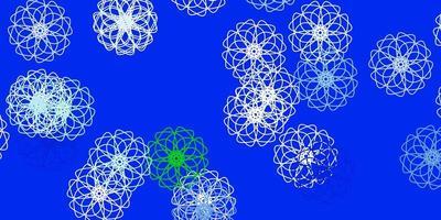 fundo do doodle do vetor azul e verde claro com flores.