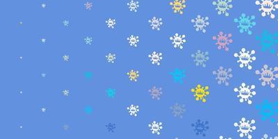 fundo de vetor azul claro e amarelo com símbolos de vírus