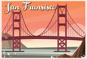 Golden Gate Bridge de San Fransisco Postcard vetor
