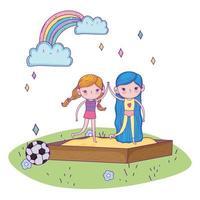 feliz dia das crianças, menina de mãos dadas na caixa de areia do playground vetor