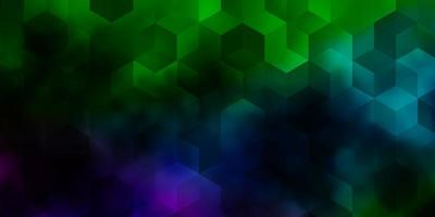 luz de fundo vector multicolor com conjunto de hexágonos.