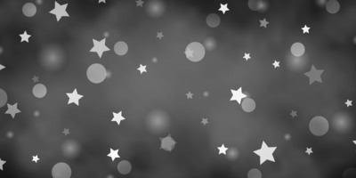 textura de vetor cinza claro com círculos, estrelas.