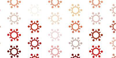 pano de fundo de vetor amarelo claro com símbolos de vírus.