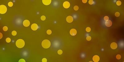 pano de fundo vector verde e amarelo escuro com círculos, estrelas.