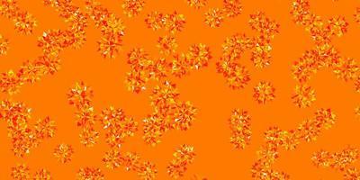 textura vector laranja claro com flocos de neve brilhantes.