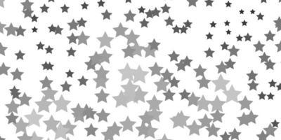 de fundo vector cinza claro com estrelas pequenas e grandes.