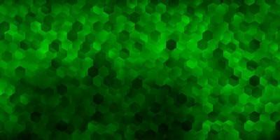 fundo vector verde escuro com formas hexagonais.