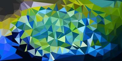 pano de fundo do mosaico do triângulo do vetor azul claro e amarelo.